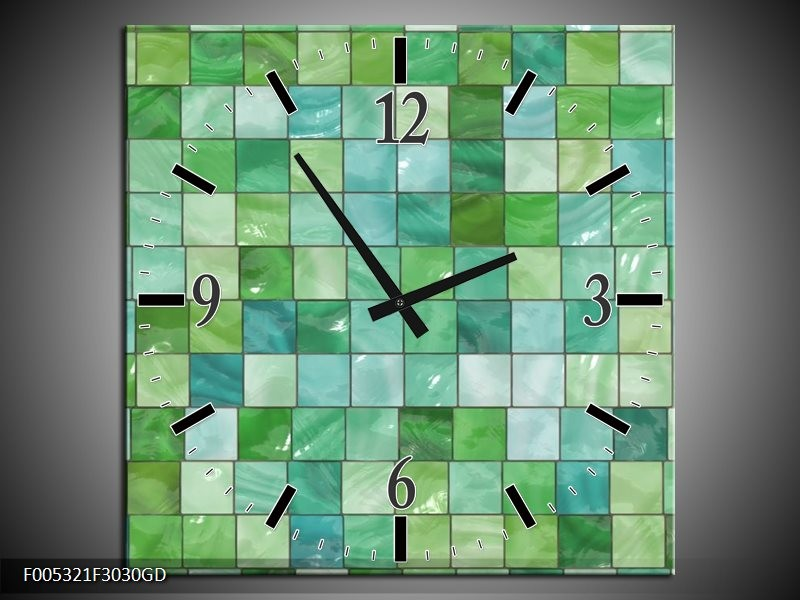 Wandklok op Glas Modern | Kleur: Groen, Grijs | F005321CGD