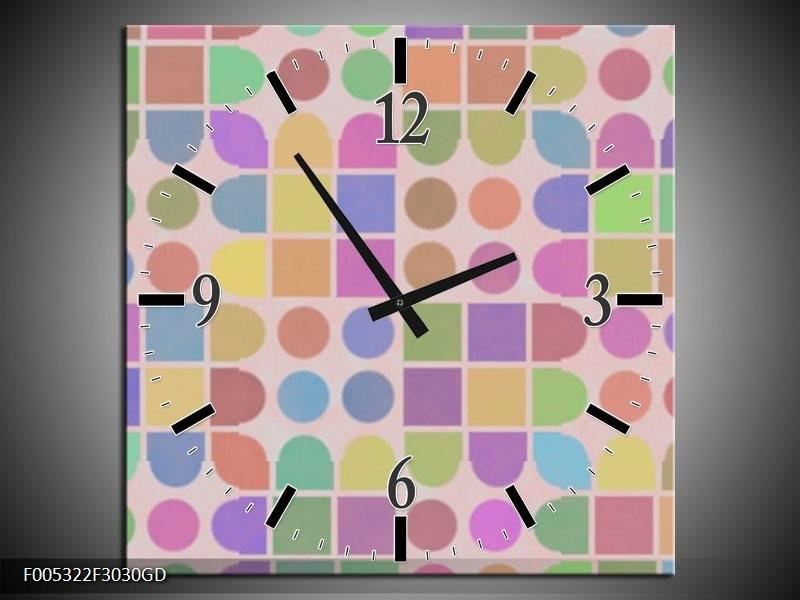 Wandklok op Glas Modern | Kleur: Roze, Blauw, Groen | F005322CGD