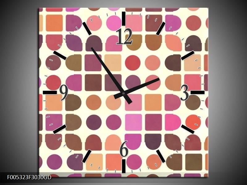 Wandklok op Glas Modern | Kleur: Bruin, Paars, Roze | F005323CGD