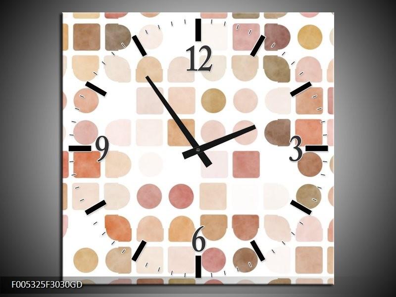 Wandklok op Glas Modern | Kleur: Wit, Bruin, Roze | F005325CGD