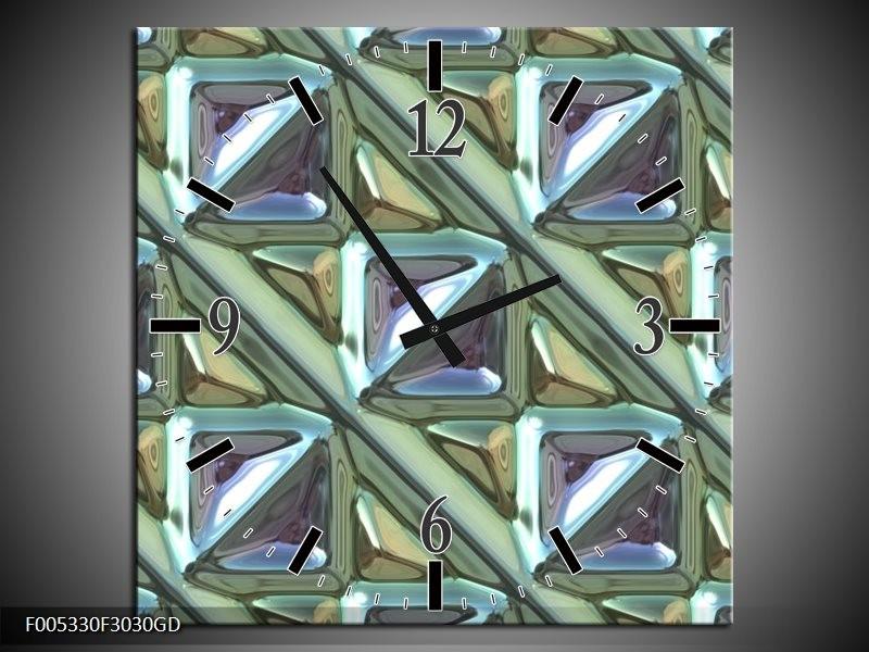 Wandklok op Glas Modern | Kleur: Grijs, Groen, Wit | F005330CGD
