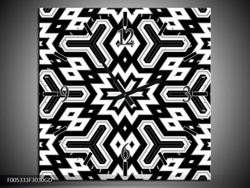 Wandklok op Glas Modern | Kleur: Zwart, Wit, Grijs | F005333CGD