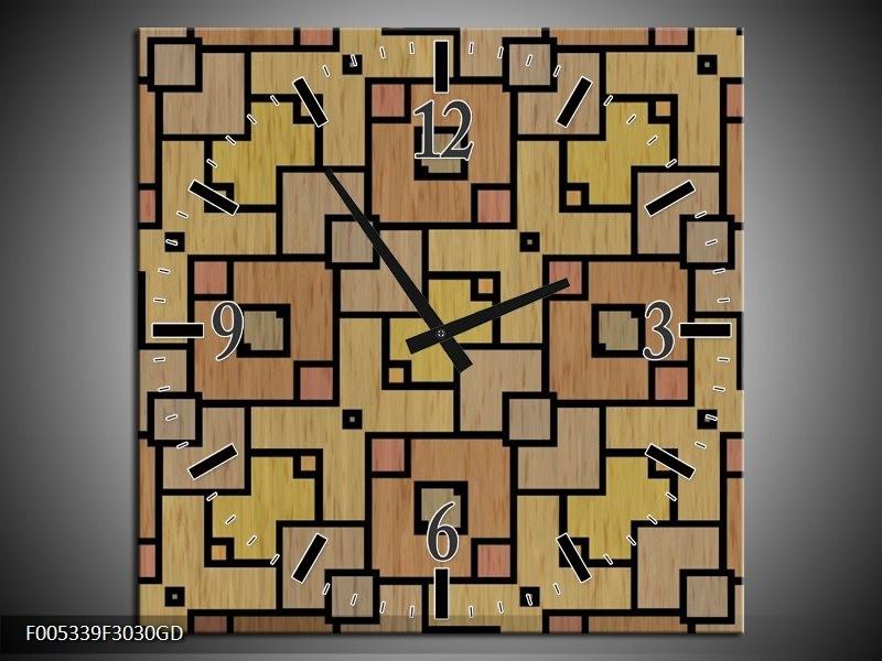 Wandklok op Glas Modern | Kleur: Geel, Zwart, Bruin | F005339CGD