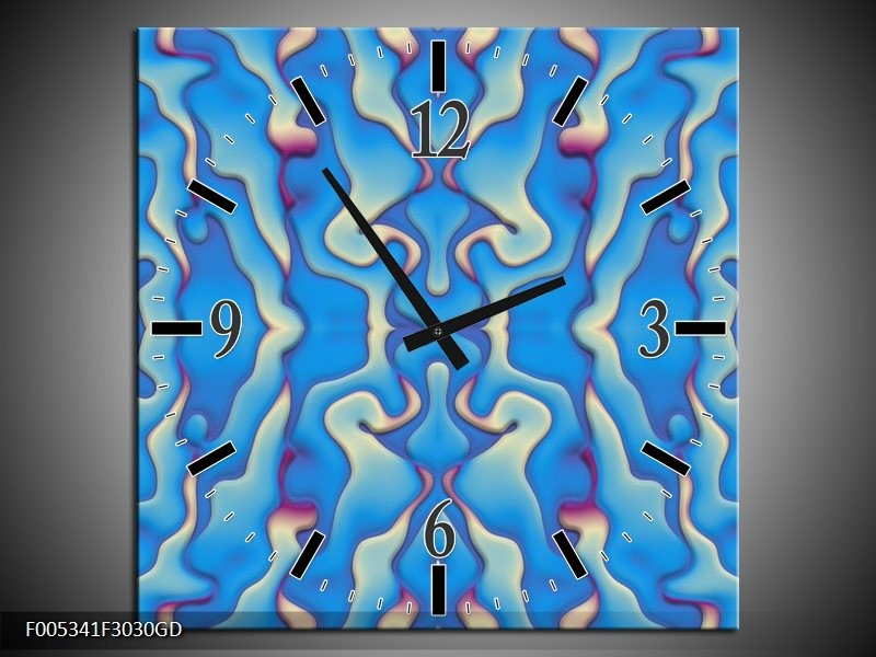 Wandklok op Glas Modern | Kleur: Blauw, Creme | F005341CGD