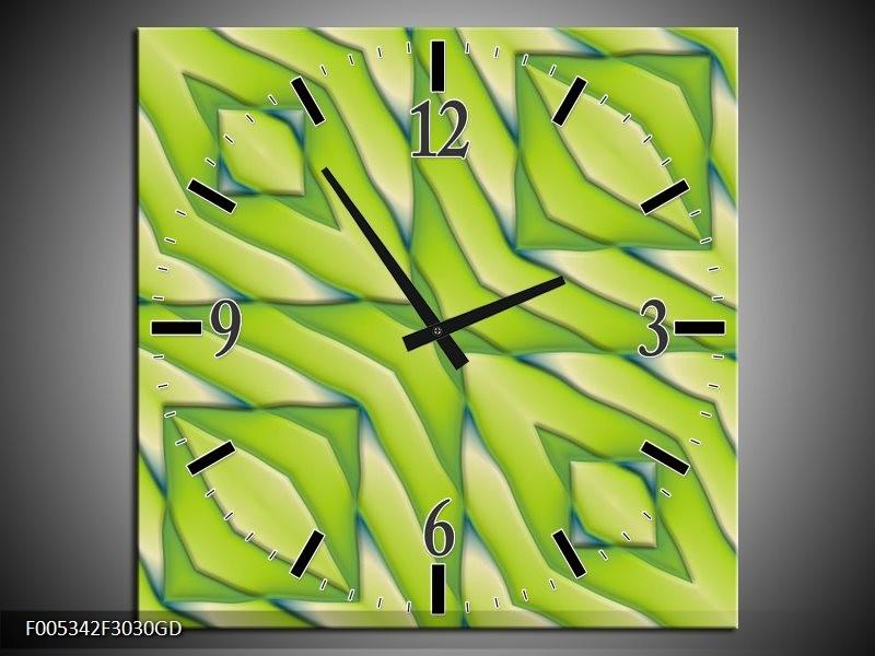Wandklok op Glas Modern | Kleur: Geel, Groen | F005342CGD
