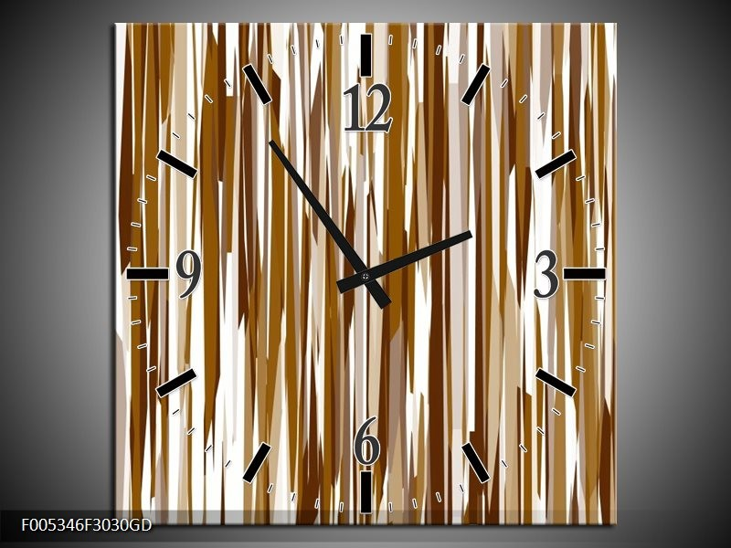 Wandklok op Glas Modern   Kleur: Bruin, Wit   F005346CGD