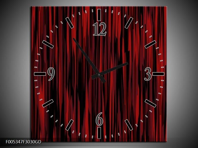 Wandklok op Glas Modern   Kleur: Rood, Zwart   F005347CGD