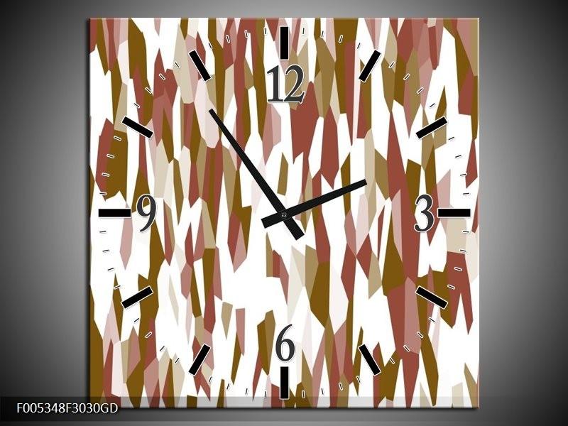 Wandklok op Glas Modern   Kleur: Wit, Bruin   F005348CGD