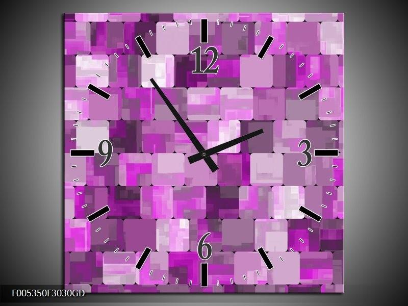 Wandklok op Glas Modern | Kleur: Paars, Wit | F005350CGD