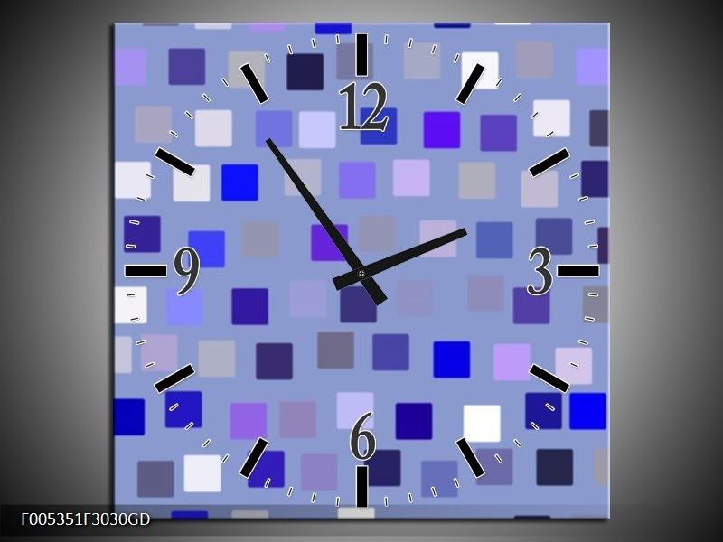 Wandklok op Glas Modern | Kleur: Blauw, Wit, Grijs | F005351CGD