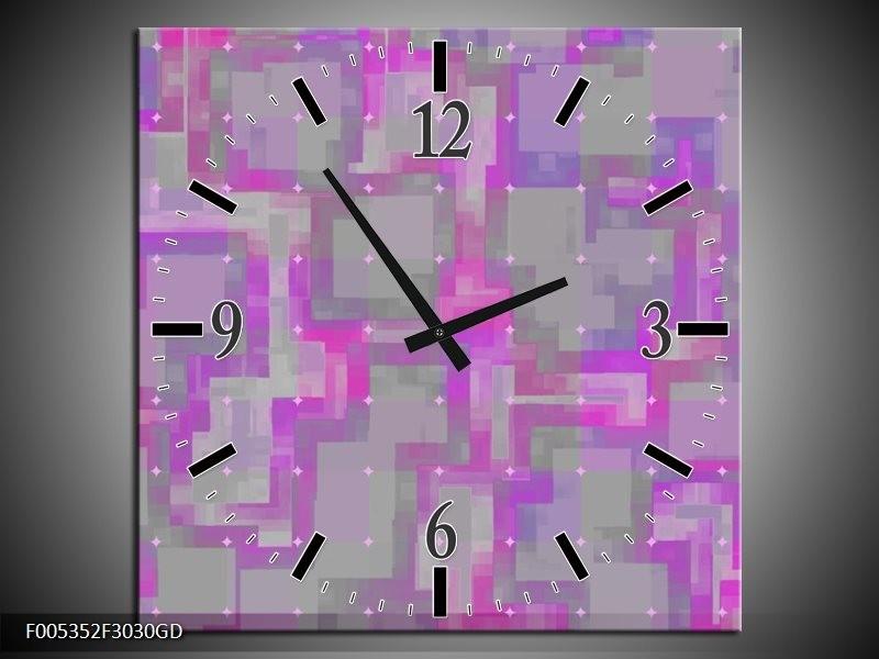 Wandklok op Glas Modern   Kleur: Grijs, Paars, Roze   F005352CGD