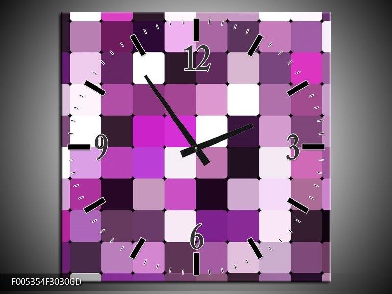 Wandklok op Glas Modern | Kleur: Grijs, Paars, Roze | F005354CGD