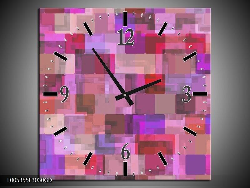 Wandklok op Glas Modern | Kleur: Grijs, Paars, Roze | F005355CGD