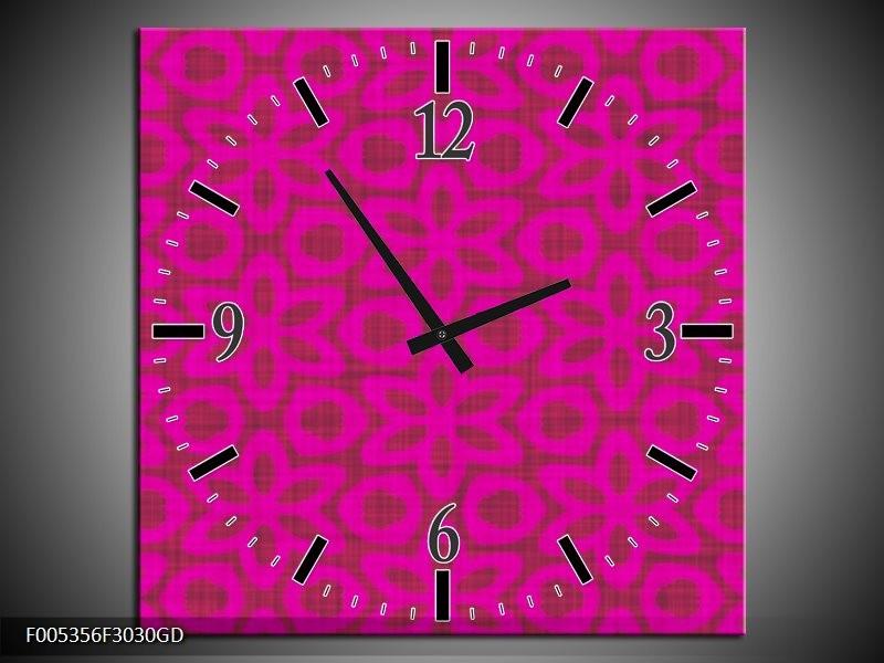 Wandklok op Glas Modern   Kleur: Roze   F005356CGD