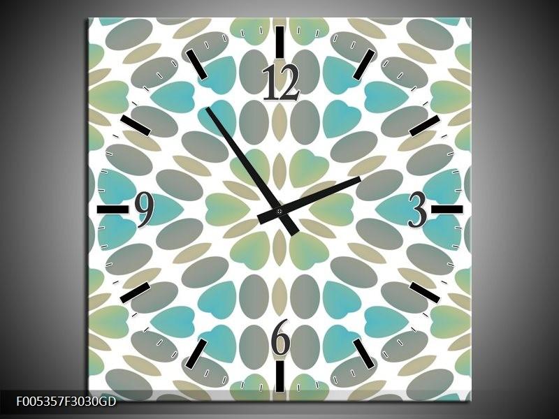Wandklok op Glas Modern | Kleur: Blauw, Groen, Wit | F005357CGD