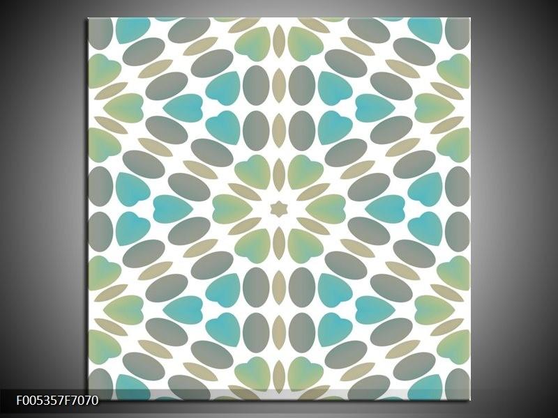 Canvas schilderij Modern | Blauw, Groen, Wit | 70x70cm 1Luik