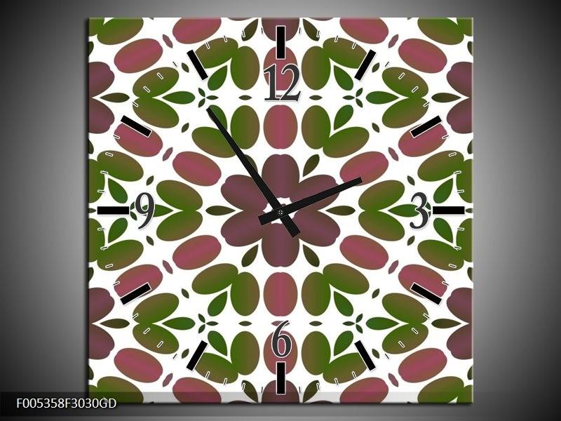 Wandklok op Glas Modern | Kleur: Groen, Bruin, Wit | F005358CGD