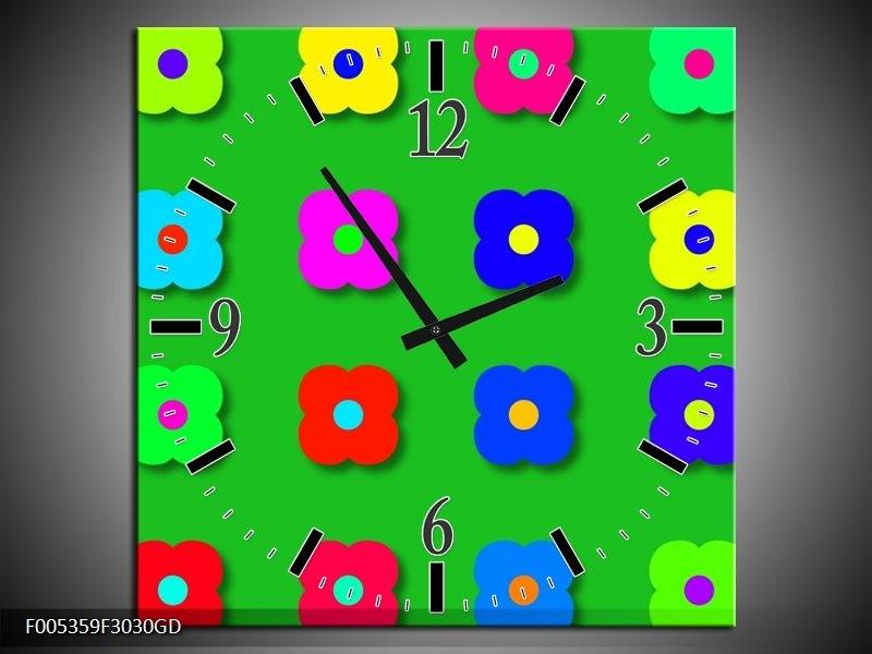 Wandklok op Glas Modern | Kleur: Groen, Blauw, Geel | F005359CGD