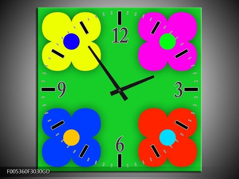 Wandklok op Glas Modern | Kleur: Groen, Blauw, Geel | F005360CGD
