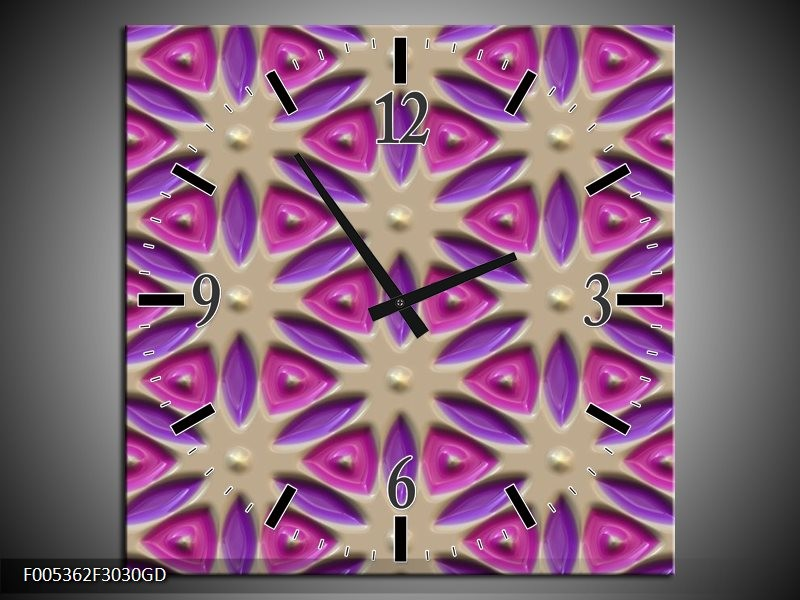 Wandklok op Glas Modern | Kleur: Paars, Grijs, Roze | F005362CGD
