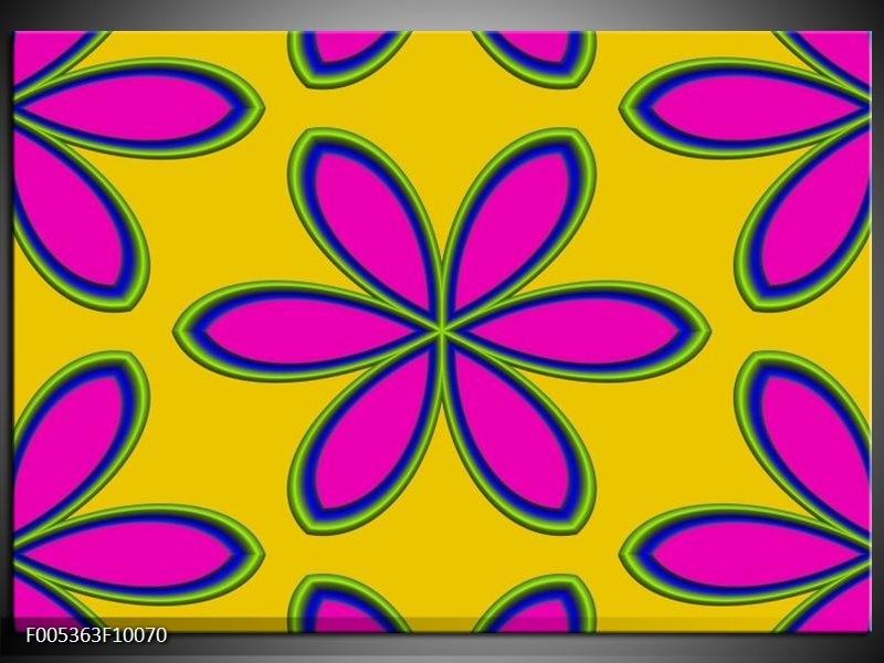 Glas schilderij Modern | Geel, Roze, Blauw
