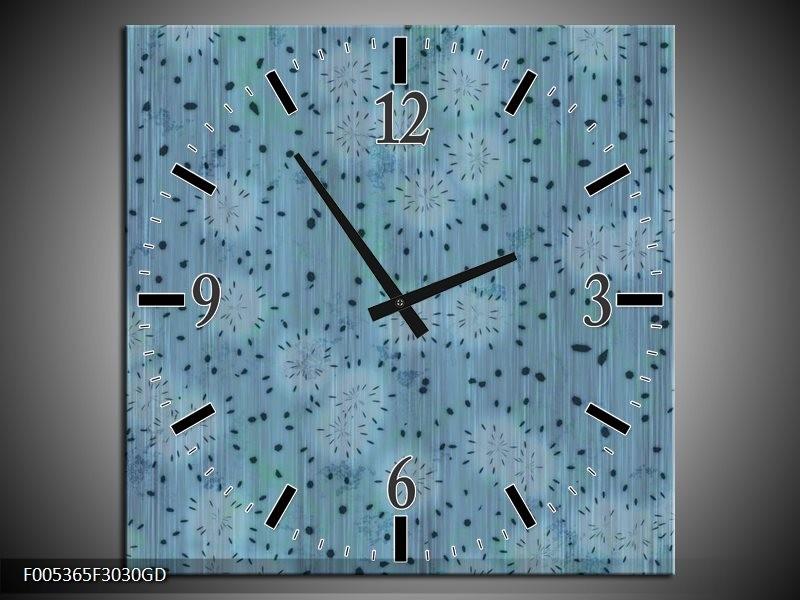 Wandklok op Glas Modern | Kleur: Blauw, Grijs | F005365CGD