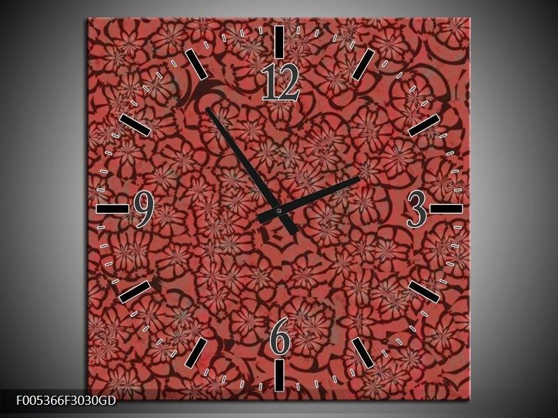 Wandklok op Glas Modern | Kleur: Rood, Zwart | F005366CGD