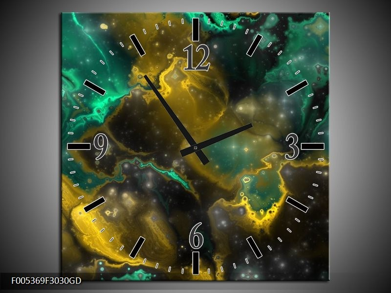 Wandklok op Glas Modern   Kleur: Groen, Grijs, Geel   F005369CGD