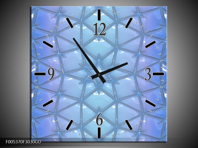 Wandklok op Glas Modern | Kleur: Blauw, Grijs | F005370CGD