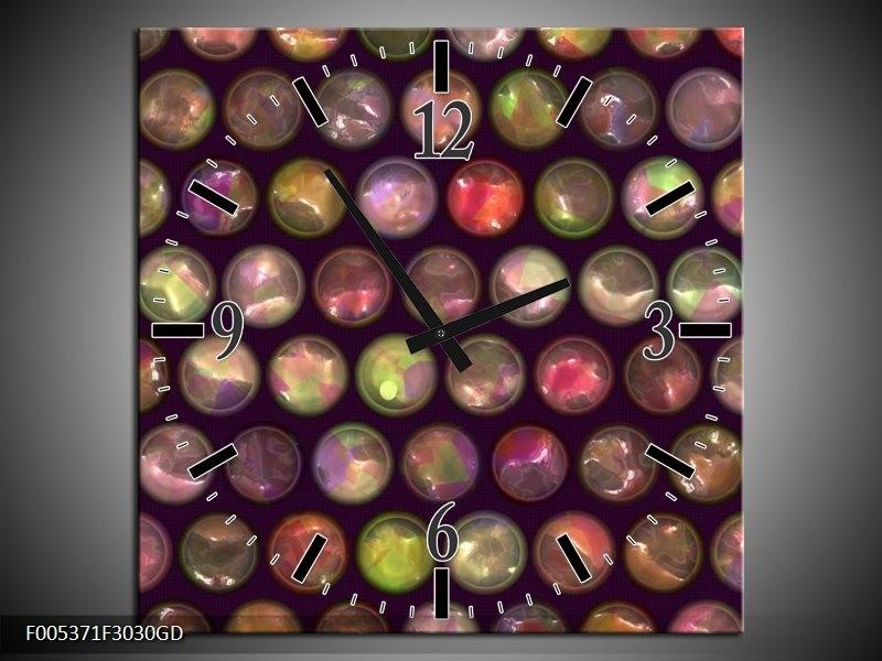 Wandklok op Glas Modern | Kleur: Paars, Geel, Wit | F005371CGD
