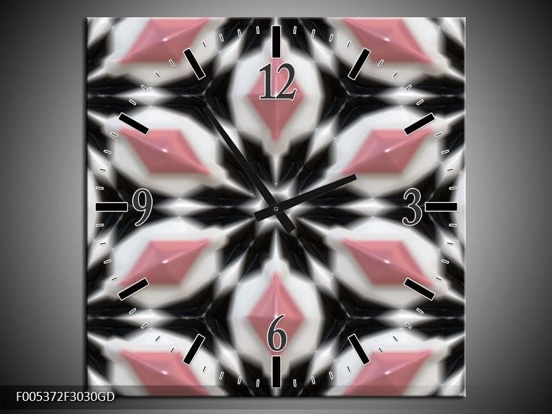 Wandklok op Glas Modern | Kleur: Roze, Zwart, Wit | F005372CGD