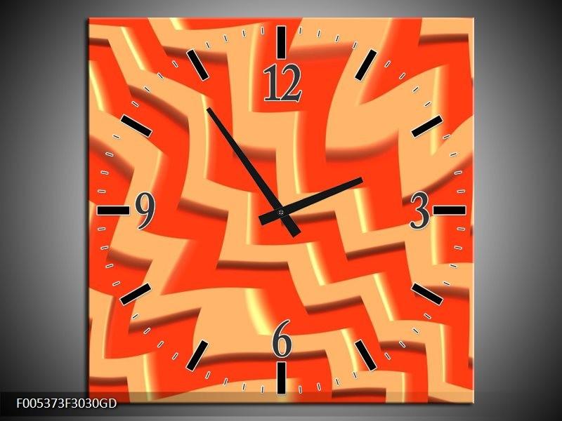 Wandklok op Glas Modern | Kleur: Oranje, Geel | F005373CGD