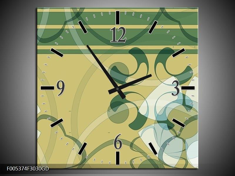 Wandklok op Glas Modern | Kleur: Groen, Grijs | F005374CGD