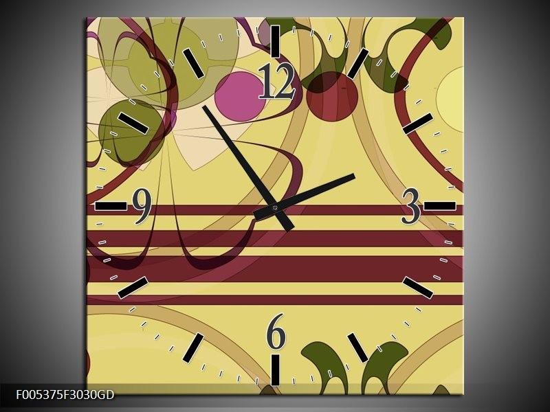 Wandklok op Glas Modern | Kleur: Bruin, Roze, Groen | F005375CGD