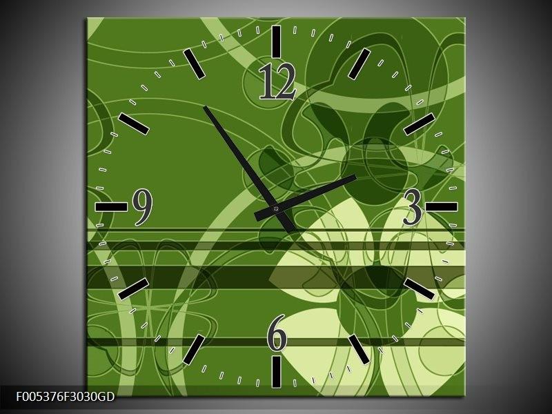 Wandklok op Glas Modern | Kleur: Groen, Wit | F005376CGD