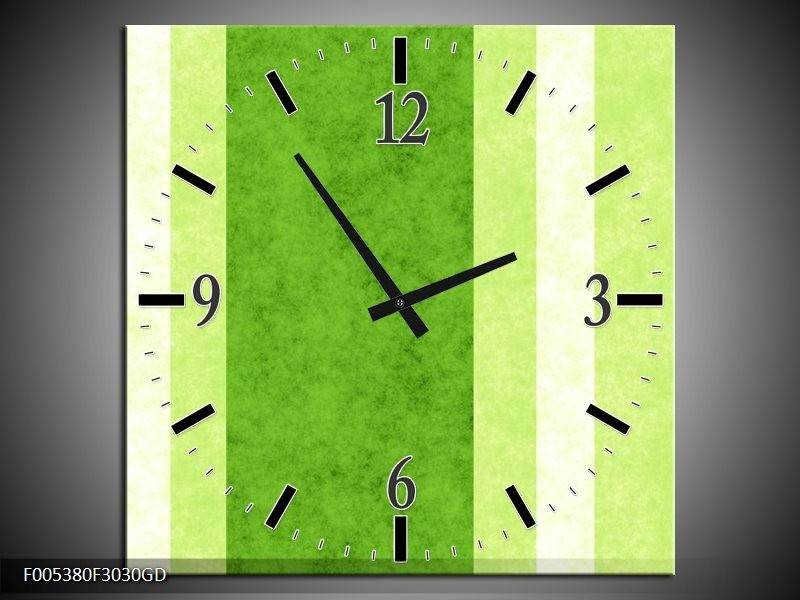 Wandklok op Glas Modern | Kleur: Groen, Wit | F005380CGD