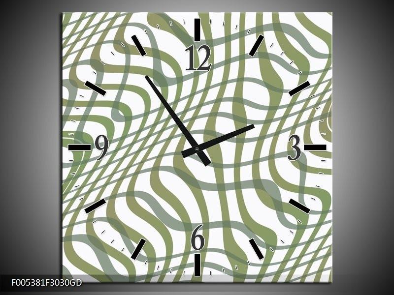Wandklok op Glas Modern | Kleur: Wit, Groen | F005381CGD