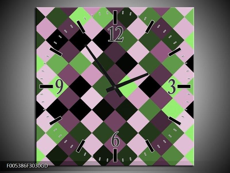 Wandklok op Glas Modern | Kleur: Groen, Paars, Zwart | F005386CGD