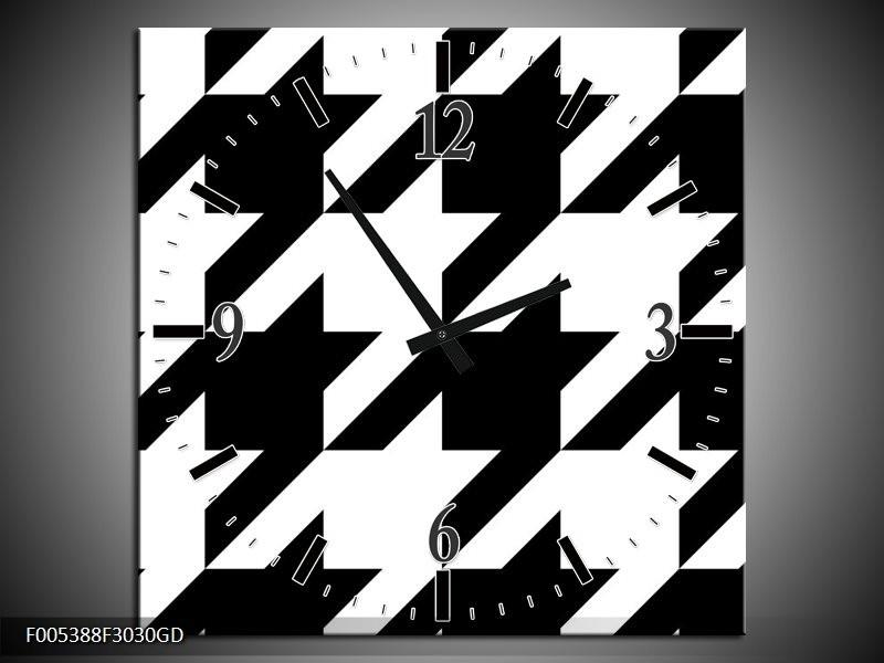 Wandklok op Glas Modern | Kleur: Wit, Zwart | F005388CGD