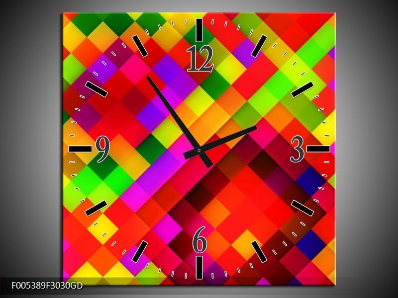 Wandklok op Glas Modern | Kleur: Rood, Geel, Groen | F005389CGD