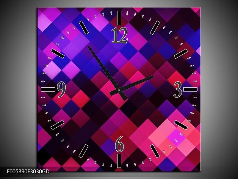 Wandklok op Glas Modern | Kleur: Blauw, Paars, Roze | F005390CGD
