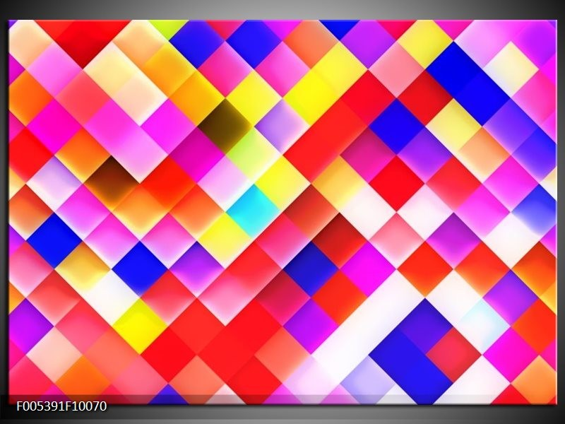 Glas schilderij Modern | Rood, Geel, Blauw