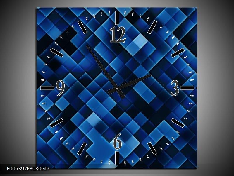 Wandklok op Glas Modern | Kleur: Blauw, Zwart | F005392CGD