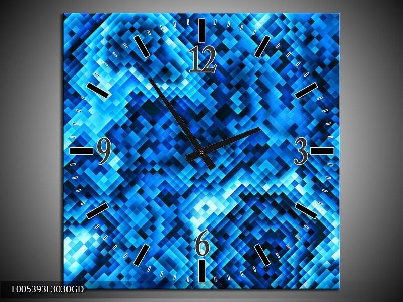 Wandklok op Glas Modern | Kleur: Blauw, Zwart | F005393CGD