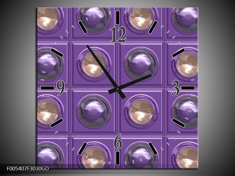 Wandklok op Glas Modern | Kleur: Paars, Grijs | F005407CGD