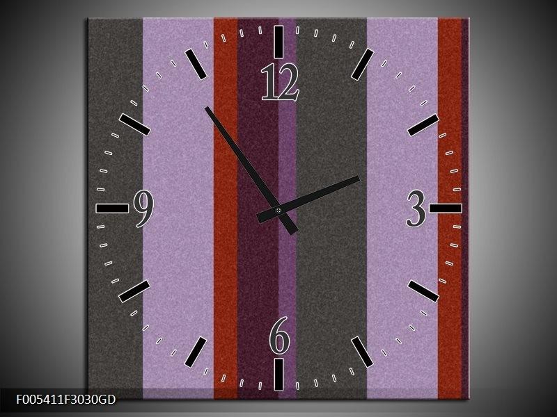 Wandklok op Glas Modern | Kleur: Grijs, Paars, Rood | F005411CGD