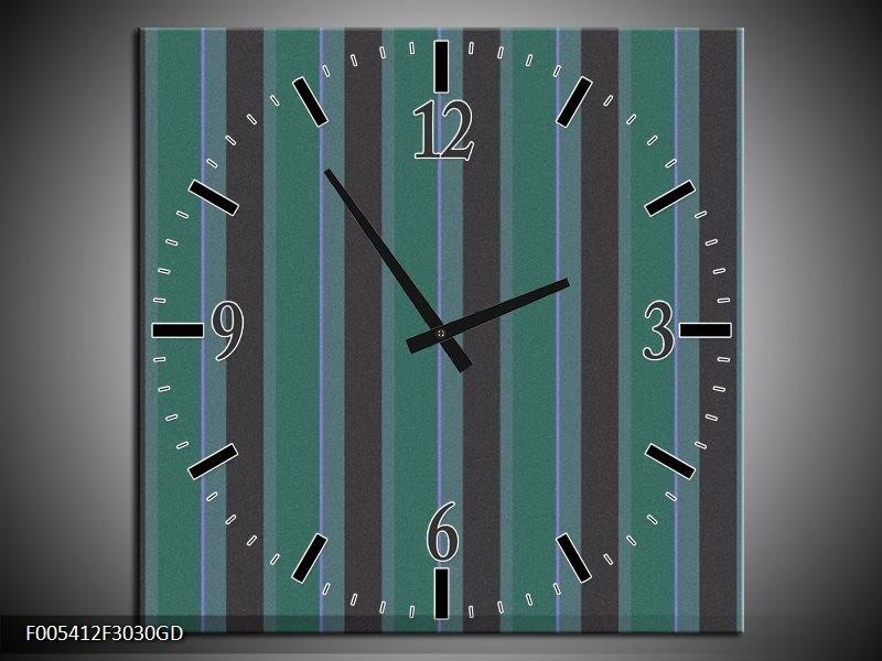 Wandklok op Glas Modern   Kleur: Groen, Zwart   F005412CGD