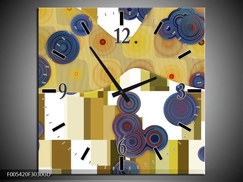 Wandklok op Glas Modern | Kleur: Blauw, Geel, Wit | F005420CGD