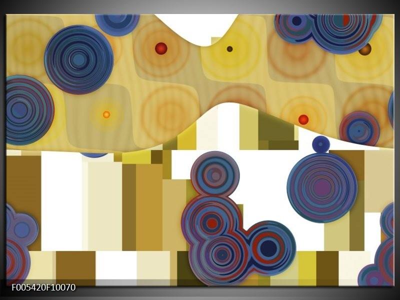 Glas schilderij Modern | Blauw, Geel, Wit