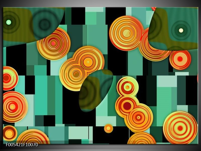 Glas schilderij Modern   Groen, Oranje, Zwart